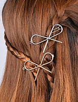 Women's Korean Style Simple Metal Bow Hairpin Alloy Barrettes 1 Piece