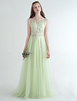 Formal Evening Dress A-line Scoop Sweep / Brush Train Tulle with Appliques