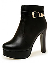 Women's Boots Winter Fashion Boots PU Casual Stiletto Heel Buckle Black / Red Others