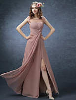 Formal Evening Dress A-line Jewel Floor-length Chiffon with Flower(s)