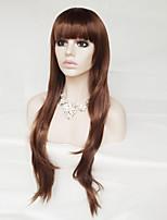 haute température perruque cosplay 30 pouces cheveux bouclés perruque brune de soie