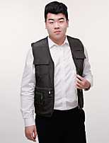 Men's Sleeveless Casual Jacket Patchwork Blue / Brown / Gray