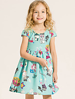 Girl's Cotton Summer Fashion Bowknot Sleeveless Printing Dress