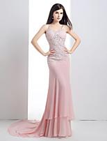Serata formale Vestito A sirena Con bretelline Strascico di corte Chiffon / Di pizzo con Dettagli con cristalli / Di pizzo