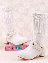 Girls' Shoes PU Boots Comfort Chunky Heel Black / White