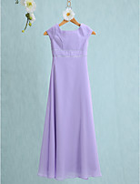 Lanting Bride Floor-length Chiffon Junior Bridesmaid Dress Sheath / Column Jewel with Buttons