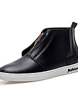 CEYUE Men's Shoes Leatherette Casual Walking Flat Heel Zipper Black / Red / White EU39-43