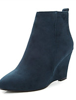Mujer-Tacón Cuña-Cuñas-Botas-Boda / Vestido / Casual / Fiesta y Noche-Vellón-Negro / Azul / Rojo