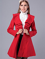 Women's Going out Simple Coat,Solid Shirt Collar Long Sleeve Winter Pink / Red / White / Black Cotton Thick