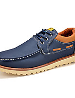 Men's Shoes PU Casual Oxfords Casual Walking Flat Heel Others / Lace-up Black / Blue / Yellow