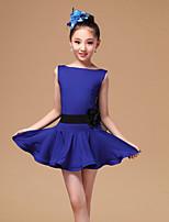Vestidos(Negro / Fucsia / Azul Rey,Tul / Fibra de Leche,Danza Latina) -Danza Latina- paraNiños Cinturón/Cinta Representación