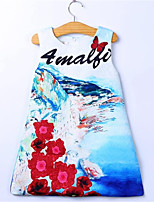 Girl's White Dress,Print Cotton / Polyester Summer / Spring