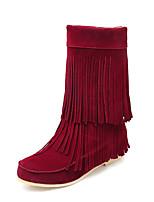 Women's Boots Fall / Winter Comfort / Round Toe Fleece Outdoor / Casual Low Heel Tassel Black / Brown / Burgundy