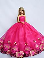 Poupée Barbie-Rouge-Princesse-Robes- enSatin / Dentelle
