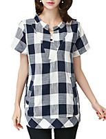 Plus Sizes Women's Summer Casual/Daily Stand Collar Short Sleeve Plaid Blouse Tops