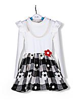Vestido Chica de-Casual/Diario-Estampado-Algodón-Primavera / Otoño-Negro / Blanco
