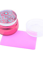 3.5cm Lovely Chess Design Silicone Jelly Nail Art Stamper Scraper with Cap Red Handle Nail Stamp Stamping Tools