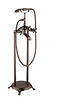 Antique Floor Mounted Handshower Included / Floor Standing with Ceramic Valve Two Handles Two Holes f , Bathtub Faucet