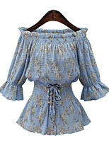 Women's Casual/Daily Street chic Summer Blouse,Print Boat Neck ¾ Sleeve Blue Polyester Medium