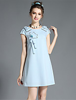 Summer Women's Vintage Fashion Plus Size Simple Bead Bow Solid Party Casual Dress