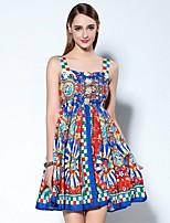 Damen Hülle Kleid-Ausgehen Anspruchsvoll Druck Rundhalsausschnitt Mini Ärmellos Blau Polyester Frühling / Sommer