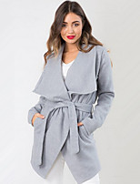 Women's Solid Gray Coat , Casual Long Sleeve Cotton Blends