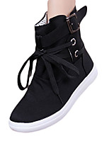 Women's Boots Winter Fashion Boots Canvas Casual Flat Heel Lace-up Black / Gray Others