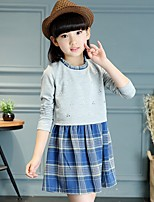 Girl's Casual/Daily Print Dress,Cotton Spring / Fall Blue / Red