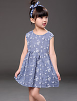 Girl's Casual/Daily Print Dress,Cotton Summer Blue / Red