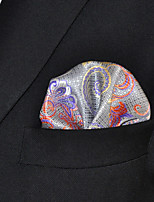Men Paisley Gray 100% Silk  Pocket Square Business