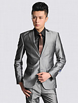Suits Tailored Fit Notch Single Breasted Two-buttons Polyester Solid 2 Pieces Gray Straight Flapped