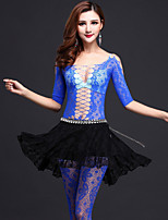 Belly Dance Outfits Women's Performance Lace Pattern/Print 4 Pieces Black / Fuchsia / Green / Royal Blue / White