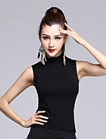 Latin Dance Tops Women's Performance Modal Draped 1 Piece Black / Burgundy Latin Dance Sleeveless Natural