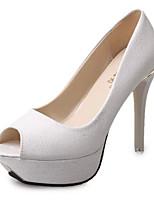Women's Shoes Leatherette Summer Heels / Peep Toe Sandals Office & Career / Casual Stiletto Heel Slip-onBlack / Pink