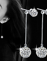 Women Ball Crystal Tassel Drop Earrings for Wedding Party