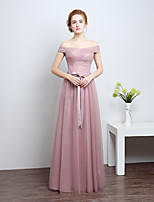 Floor-length Satin / Tulle Bridesmaid Dress-Silver / Candy Pink Sheath/Column Off-the-shoulder