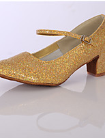 Women's Dance Shoes  Satin / Sparkling Glitter Latin Ballroom Heels Chunky Heel Indoor Silver / Gold