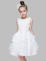 A-line Knee-length Flower Girl Dress-Cotton / Organza / Satin Sleeveless