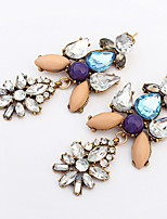 Retro Nightclub Exaggerated Style Luxury Rhinestones Color Stitching Earrings
