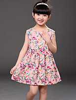 Girl's Casual/Daily Floral Dress,Cotton Summer Blue / Pink / Yellow