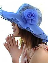 Women Summer Solid Silk Flowal Patchwork Middle Brim Floppy Sun Hat