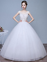 Ball Gown Wedding Dress Floor-length Scoop Lace / Tulle with Lace