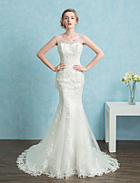 Trumpet / Mermaid Wedding Dress Court Train Scoop Lace / Satin / Tulle with Beading / Lace