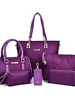 Women Bag Sets Nylon All Seasons Event/Party Barrel Zipper Fuchsia Purple Black Blue