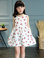 Girl's Cotton Summer Fashion Melting Cherry Printing  Princess Dress