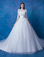 Ball Gown Wedding Dress Chapel Train Bateau Lace / Satin / Tulle with Lace / Sequin / Flower