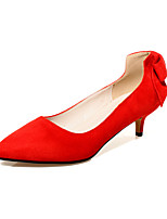 Women's Shoes Fleece Stiletto Heel Heels / Comfort / Pointed Toe Heels Office & Career / Dress / Casual Black / Red