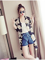 Women's Party/Cocktail Cute Trench Coat,Floral V Neck Long Sleeve Summer White / Black Nylon Translucent