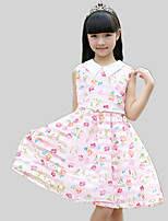 Girl's Casual/Daily Floral Dress,Cotton / Polyester All Seasons Pink