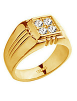 Ring Fashion Party / Daily / Casual Jewelry Alloy / Zircon Men Band Rings 1pc,8 / 9 / 10 Gold / Silver